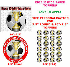 Personalised Football And Cup Birthday Cake/Cupcake Topper On Edible Rice Paper