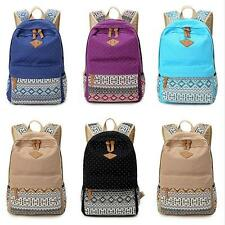 Girl Women Canvas Shoulder School Bag Bookbag Backpack Travel Rucksack Handbag #