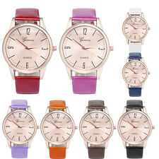 New Colours Women Geneva Arabic Numerals Leather Band Analog Quartz Wrist Watch