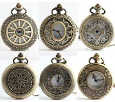 Vintage Steampunk Retro Bronze Pocket Watch Quartz Pendant Necklace Watches Gift