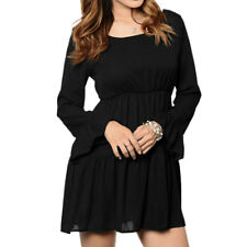 Woman Long Sleeves Open Back Flouncing Hem Elastic Waist Chiffon Dress
