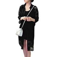 Woman Hollow Out Batwing Sleeves Button Down Lace Tunic Shirt