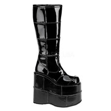 """DEMONIA STACK-301 Men's 7"""" Platform Goth Cyber GOGO Punk Patched Knee High Boot"""