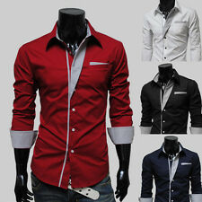 Top Quality Awesome Mens Casual Formal Suit Slim Fit Long Sleeve Shirt Top