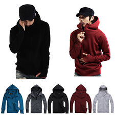 Men Solid Full Zip Stand Collar Hooded Cardigan Coat Gloved Hoodies Jacket