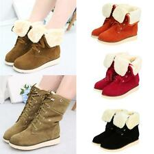 Women Boots Faux Fur Tied Lace Up Fold Down Lady Ankle Shoes Flat Winter SW4A