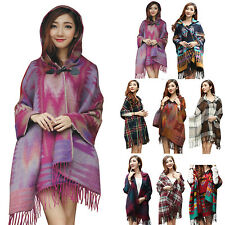 Women Hooded Shawl Casual Knitted Cape Tassel Fringe Boho Scarf Cape Poncho
