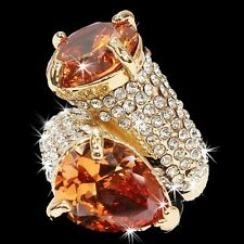 HUGE Champagne Gold Micro Pave Set Crystal Cz Cocktail Wedding Statement Ring