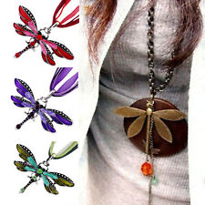 Fashion Beauty Enamel Rhinestone Inlay Dragonfly Pendant Necklace Charms Gift