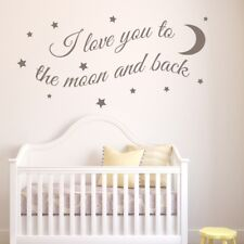 I LOVE YOU WALL STICKERS vinyl moon back stars decal art quote kids nursery room