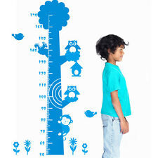 NEW Owl Monkey Removable Vinyl Wall Decal Stickers Kids Height Chart Measure