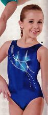 NWT Gymnastics leotard Acro Leotard 971888 Rhinestone sloops Foil Royal girls sz