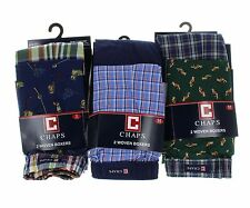 Chaps Men's 2 pack 100% Cotton Woven Boxers Underwear - Plaid - Fox - Fishing