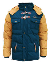 Soul Star Men's Differ Two Tone Padded Hooded Puffer Parka Jacket Coat blue