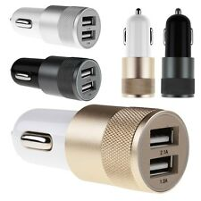 Aluminium Universal Dual USB Car Charger Adapter Bullet For iPhone 5S 6S Samsung