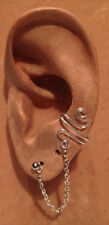EAR IVY CHAIN CUFF HANDMADE STERLING SILVER WIRE WRAPPED - FREE PAIR OF EARRINGS