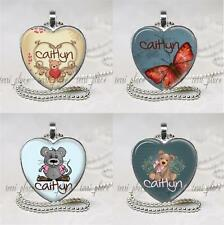 """Custom Name Personalized Kids Glass Pendant Necklace Silver Setting 24"""" on Chain"""