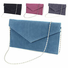Large Faux Suede Envelope Clutch W/ Wrist Strap Women Hand Carry Daily Bag Purse