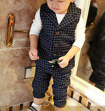 Boys children Kids Vest + Pants Wedding Pageboy Party outfits Navy suits 2pc set