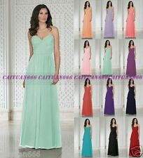 New Long Chiffon Formal Evening Party Ball Gown Prom Bridesmaid Dress Size 6-18