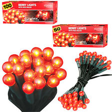 RED BERRY CHRISTMAS LIGHTS DECORATION INDOOR OUTDOOR FAIRY XMAS PARTY ROPE BULB