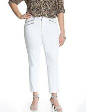 Lane Bryant Genius Fit White Moto Skinny Ankle Jeans with Zipper Detail
