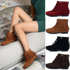 Women aux Suede Ankle Boots New FBoho Flat Fringed Booties Oxfords Moccasin