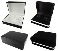 MENS CUFFLINK BOXES VELVET EFFECT OR PLASTIC BLACK ACCESSORIES STORAGE GIFT BOX