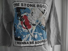 *NEW* AMPLIFIED STONE ROSES WANNA BE ADORED LADIES SWEATSHIRT LIGHT GREY SZ S 8