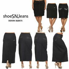 New Women Classic Denim Jean Dark Wash Long Skirts H-Line Stretch Maxi Dress