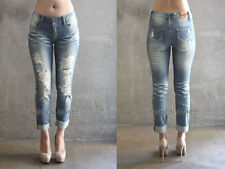 BLUE 12 DISTRESSED BOYFRIEND JEANS Ripped Skinny Denim Stretch PLUS SIZE 13-21