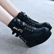 Fashion Womens Rivet Spiked Buckle Strap High Platform Wedge Heels Boots Shoes
