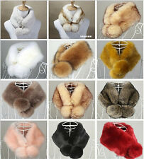 Winter Women Faux Rabbit/Fox Fur Collar Scarves Shawl Wrap Stole Cape 13 Colors