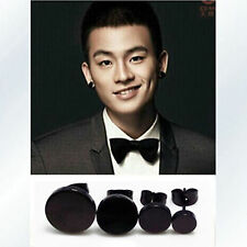 Man Woman Black Fake Ear Taper Plug Round Stretcher Studs Piercing Earrings
