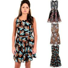 Ladies Sleeveless Zebra Paisley Feather Belted Chiffon Lined Sexy Skater Dress