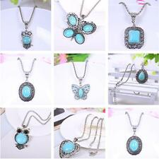 Tibetan Silver Beauty Women Rhinestone Turquoise Pendant Charms Necklace Jewelry