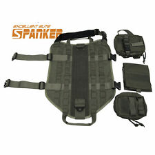 Tactical Military Molle Dog Vest Army Police Canine Harness with Pouches RG