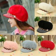 Women Hat Faux Rabbit Fur Beanie Knit Brim Rhinestone Button Beret Slouchy DQ8V