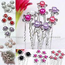 LOT 10PC Colorful Faux Pearl Crystal Rhinestone Beads Flower Hair Pin Clips Gift