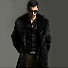 Luxury Black Faux Fur Coat Men Outerwear Warm Long Jacket Winter Overcoat Parka