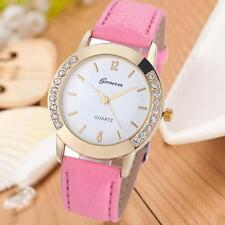 Fashion Geneva Women Diamond Analog Leather Quartz Wrist Watch Watches UK STOCK