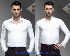 New Men White Waltz Prom Party Ballroom Latin Rhythm Salsa Dance Shirt Top S-XXL