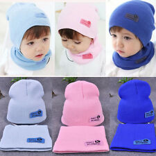 Baby Children Boys Girls Toddler Knitted Winter Warm Cap Hat and Scarf Set Hot