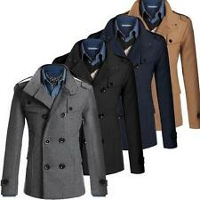 Hot Mens Double Breasted Coat Suit Slim Casual Jacket Outwear Coat
