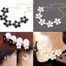 Lady Girl Korean Fashion Daisy Flower Series Necklace/Pearl Earring/Jewelry Set
