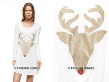 OFF WHITE 32 RED NOSE REINDEER DEER DRESS Glitter Tunic Top Christmas S M L