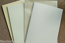 20 x A5 White or Ivory Hammer Card Blanks & Pearl Envelopes 210 x 148mm New