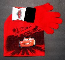 CARS LIGHTNING McQUEEN DISNEY Boys Knit Winter Beanie Hat & Gloves Set NWT  $20