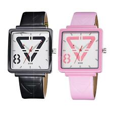 Elegant Women Leather Band Square Dial Triangle Quartz Analog Mens Watches HV9G