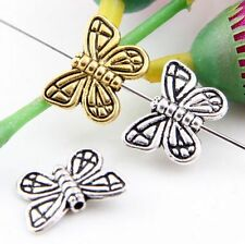 Wholesale 30/65Pcs Tibetan Silver/Gold butterfly Spacer Beads 15x11mm(Lead-free)